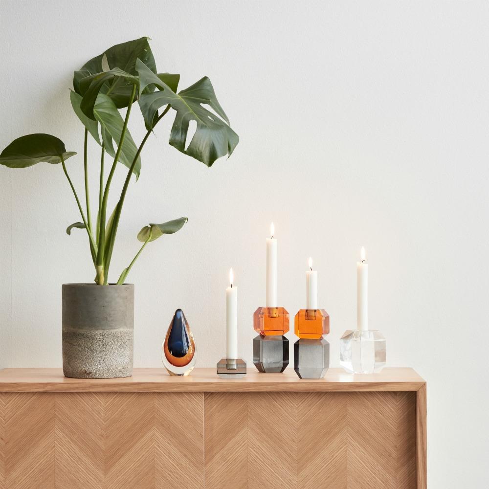 Kerzenständer Kristallglas amber/rauch von Hübsch Interior